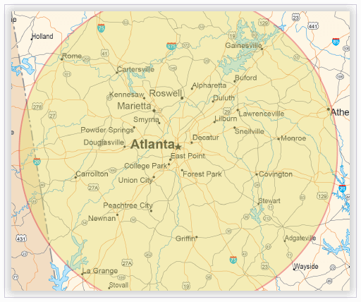 On-site interpreting map - Atlanta, Georgia region
