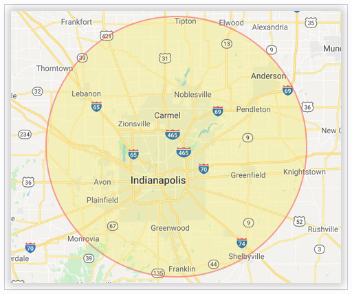 On-site interpreting map - Indianapolis region
