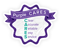 Purple CARES. Clear, Accurate, Reliable, Easy Serivce